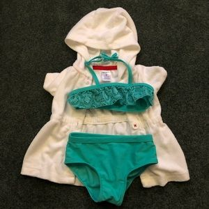 Baby girl bikini swimsuit and coverup